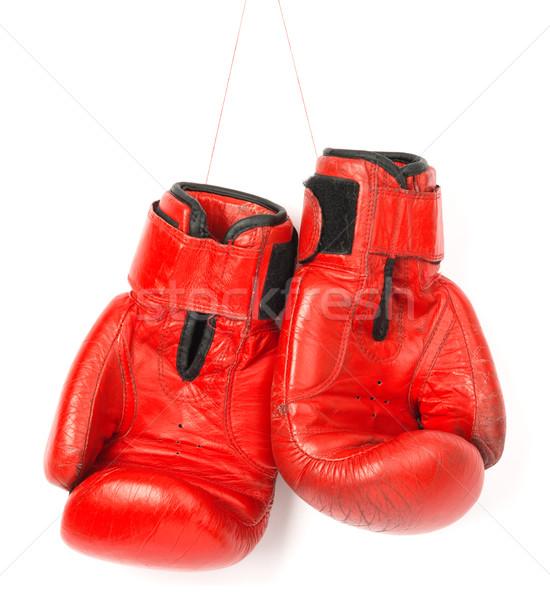 красный боксерские перчатки белый изолированный стороны спорт Сток-фото © cherezoff