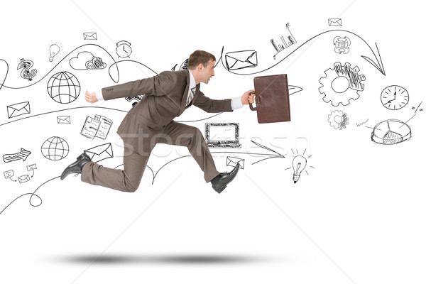 Person running fast with suitcase on white Stock photo © cherezoff