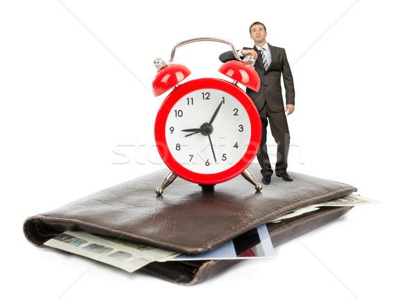 ビジネスマン 立って 財布 目覚まし時計 孤立した 白 ストックフォト © cherezoff