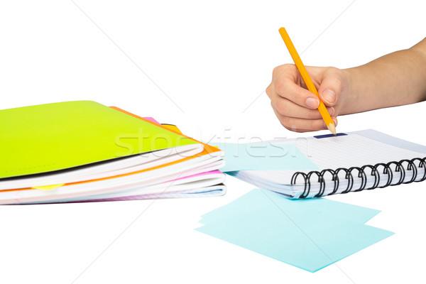 Females hand writing in notebook Stock photo © cherezoff
