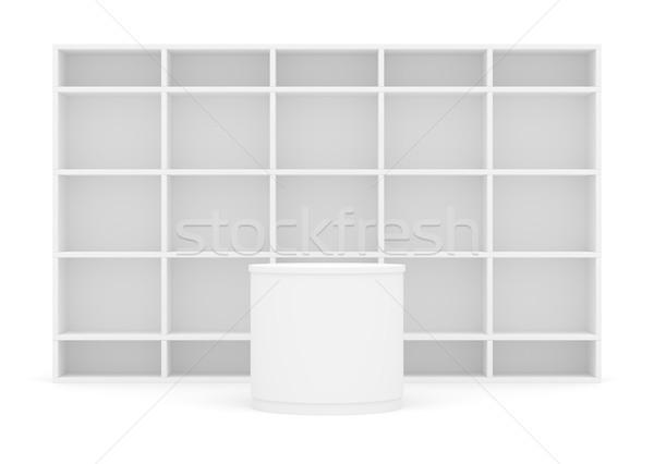 Blanche poi cylindre tablettes fond 3d illustration Photo stock © cherezoff