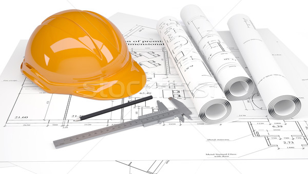 Construction helmet and calipers in the drawings Stock photo © cherezoff