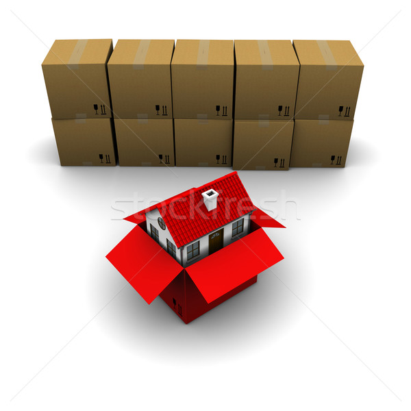 house of red cardboard box on the background of the group boxes Stock photo © cherezoff