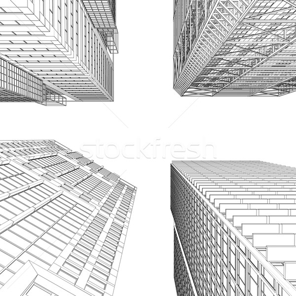 Foto stock: Arranha-céu · linhas · isolado · tornar · branco