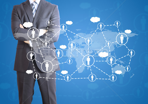 Businessman and network of contacts Stock photo © cherezoff