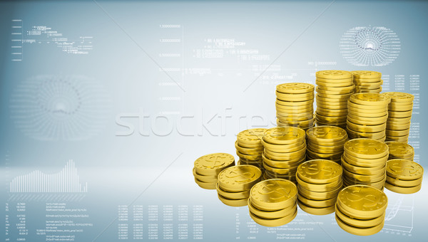 Pyramid from gold coins Stock photo © cherezoff