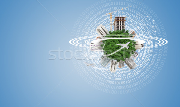 Green Earth with buildings, construction site and airplanes Stock photo © cherezoff