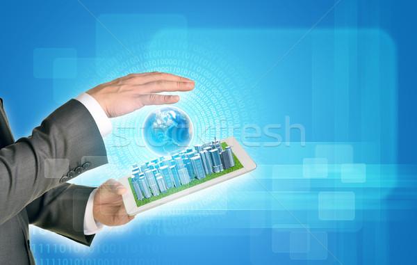 Stockfoto: Man · handen · business · stad