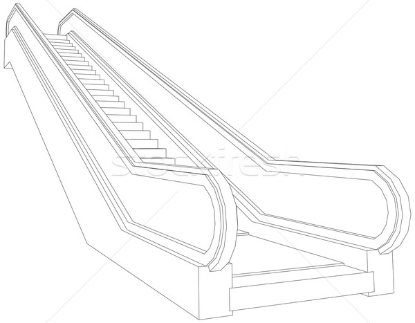 Drawing of wire-frame escalator. Perspective view. Vector illustration Stock photo © cherezoff