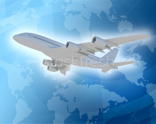 Bottom view of jet with world map Stock photo © cherezoff