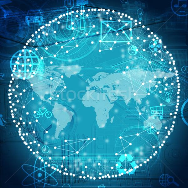 Modell világtérkép kék ikonok világ bicikli Stock fotó © cherezoff