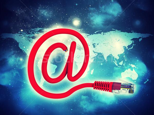 Streszczenie niebieski kabel czerwony kabel komputerowy komputera Zdjęcia stock © cherezoff