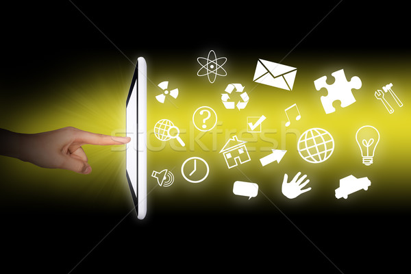 Humans hands using tablet Stock photo © cherezoff