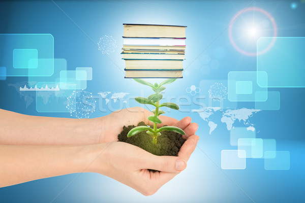 Stock photo: Womans hands holding plant with ground and books