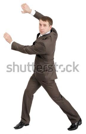 Biznesmen niewidoczny odizolowany biały widok z tyłu Zdjęcia stock © cherezoff