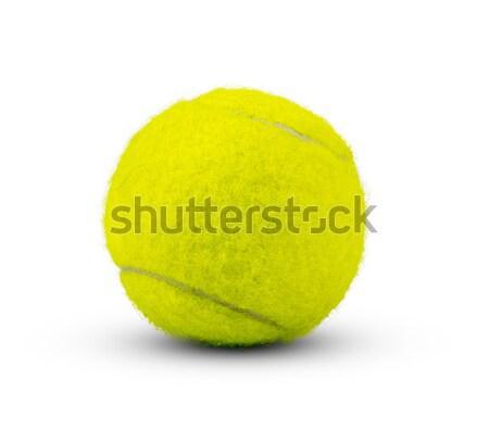 Piłka tenisowa biały żółty odizolowany sportu tenis Zdjęcia stock © cherezoff