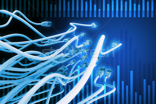 Abstract blue background with computer cables Stock photo © cherezoff