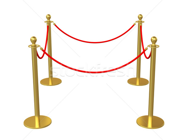 Golden fence, stanchion with red barrier rope Stock photo © cherezoff