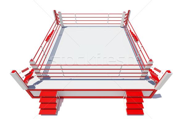 бокса кольца изолированный белый 3D Сток-фото © cherezoff