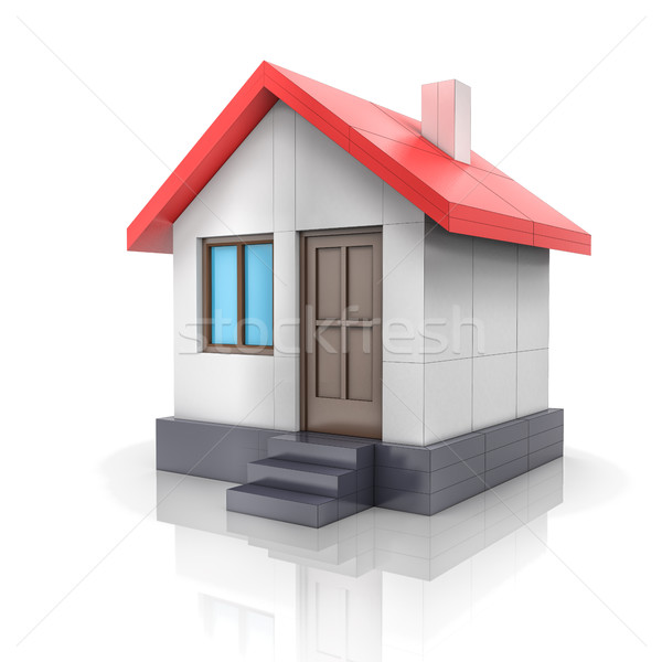 House project. Drawing turns into 3d model Stock photo © cherezoff