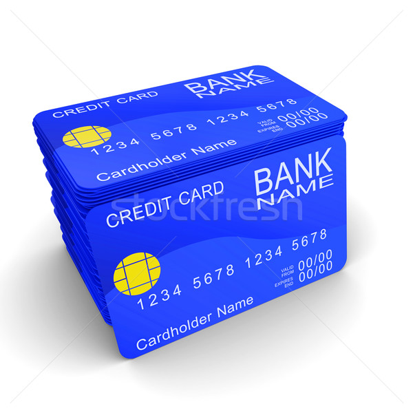 A stack of blue credit cards Stock photo © cherezoff