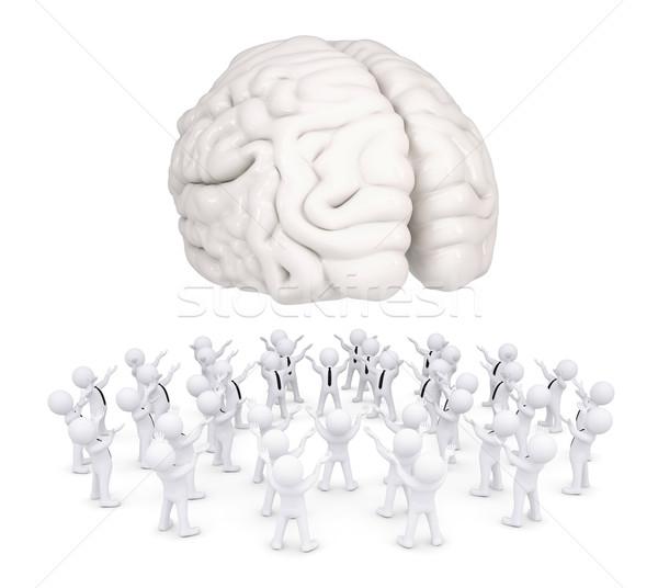 Group of white people worshiping brain Stock photo © cherezoff