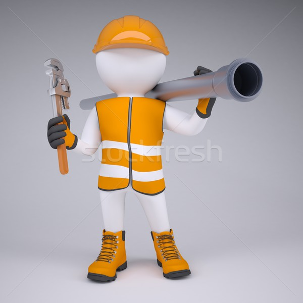 3d man in overalls with screwdriver and sewer pipe Stock photo © cherezoff
