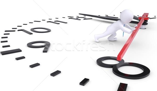 白 3次元の男 プッシング 2番目の 手 孤立した ストックフォト © cherezoff