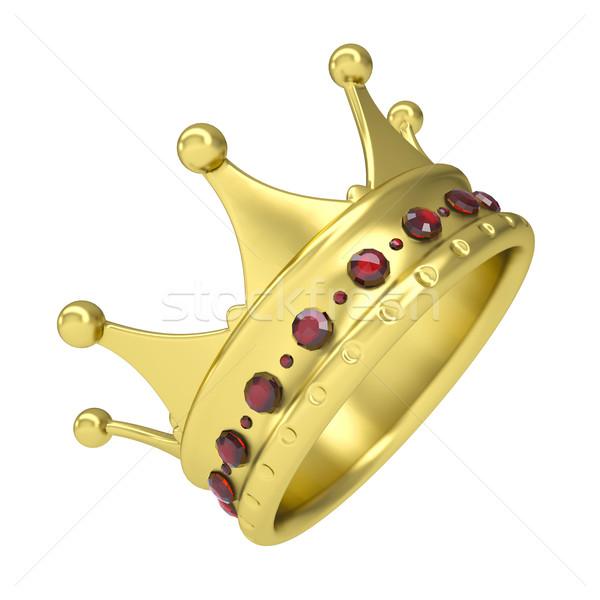 Ouro coroa decorado isolado tornar branco Foto stock © cherezoff