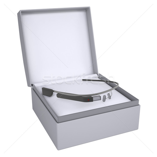 Stock photo: Google glass in open gift box