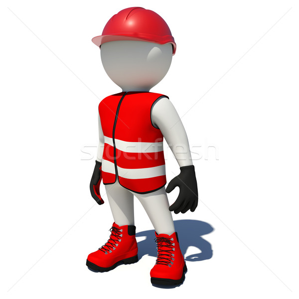 Worker in red overalls. Isolated Stock photo © cherezoff
