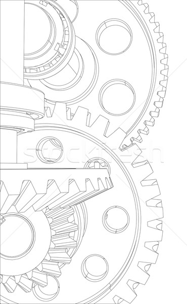 Wire-frame gears with bearings and shafts. Close-up. Vector Stock photo © cherezoff