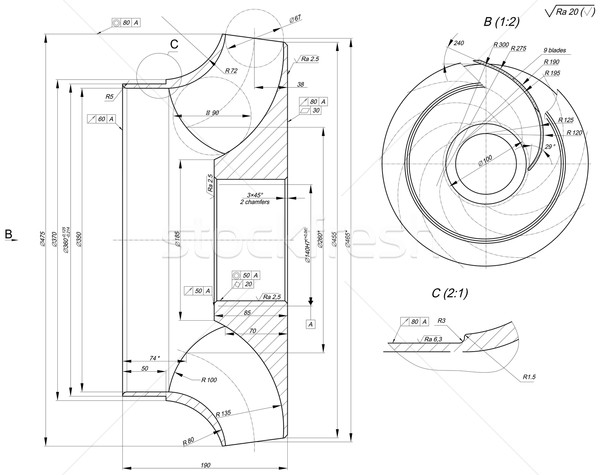 Sketch of engineering wheel with chamfers Stock photo © cherezoff
