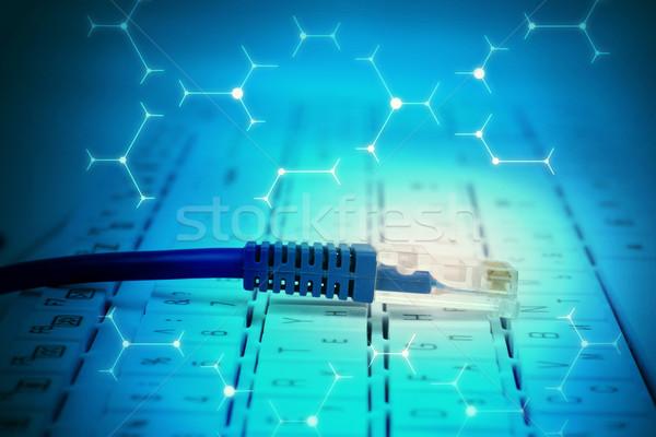Kabel komputerowy klawiatury streszczenie niebieski znaki komputera Zdjęcia stock © cherezoff