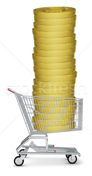 Pile of coins in shopping cart Stock photo © cherezoff