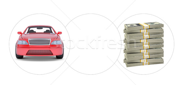 Car with bundle of money and empty circle Stock photo © cherezoff