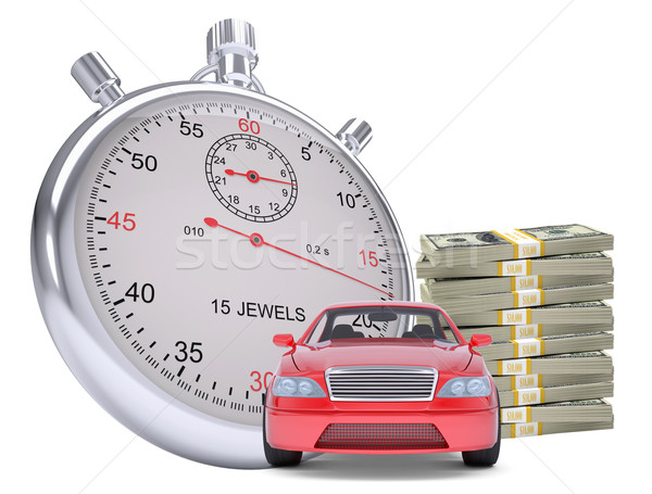 Timer with car and stack of money Stock photo © cherezoff