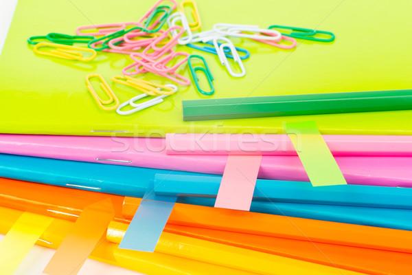 Farbenreich Aufkleber isoliert weiß Blatt Stock foto © cherezoff