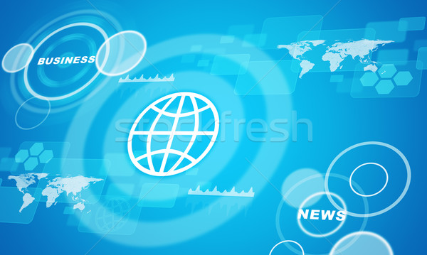 Computer icons with world map and circles Stock photo © cherezoff