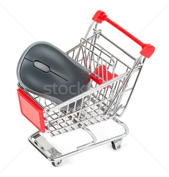 Mouse de computador carrinho de compras isolado branco papel compras Foto stock © cherezoff