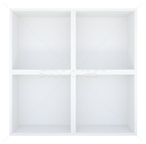 Pusty półka na książki biały 3d ilustracji streszczenie domu Zdjęcia stock © cherezoff