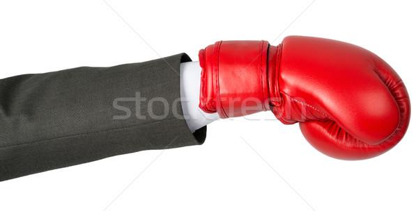 стороны боксерская перчатка изолированный белый мужчин синий Сток-фото © cherezoff