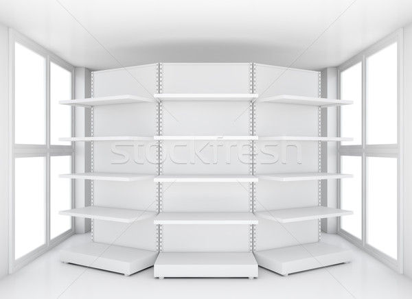 Retail shelves for samples product in blank room Stock photo © cherezoff