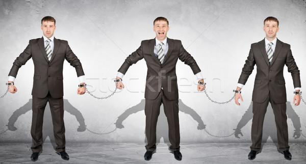 Szett el üzletemberek bilincs szürke kéz Stock fotó © cherezoff