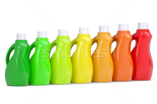 пластиковых бутылок домашнее хозяйство химикалии 3d визуализации изолированный Сток-фото © cherezoff