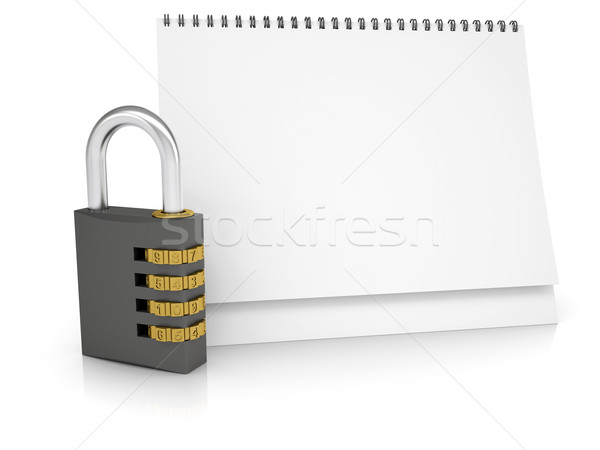 Combination lock and desk calendar Stock photo © cherezoff
