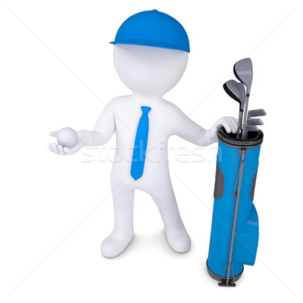 3D fehér férfi tart golflabda táska golfütők Stock fotó © cherezoff