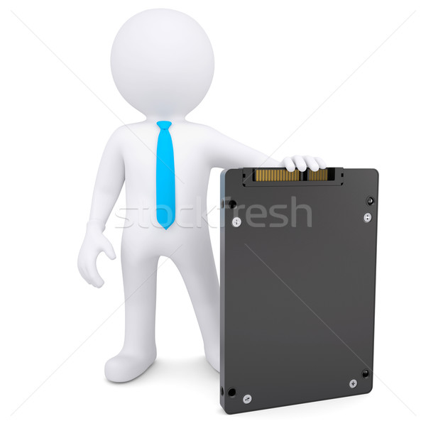 3D homme blanc solide disque isolé Photo stock © cherezoff
