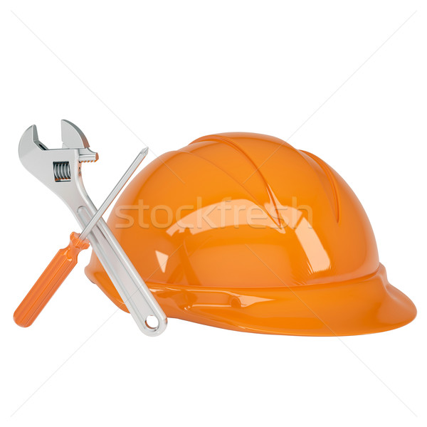 Helmet, wrench and a screwdriver Stock photo © cherezoff