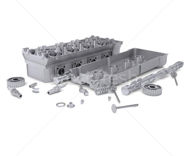 Cabeça cilindro 3d render isolado branco carro Foto stock © cherezoff